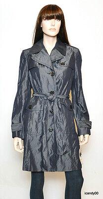 Nwt $595 ANNE KLEIN NY Iridescent Trench Rain Coat Jacket Top ~Pearl/Indigo *M