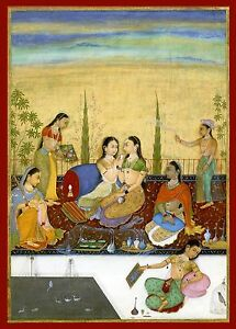 India Miniature Painting Reproduction Harem Ladies Fine Art Print