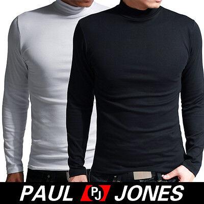 Men's Cotton Warm Tight Turtleneck Basic Tee Long Sleeve T-Shirt Size XS S M L