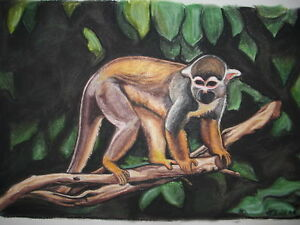 Bild-Pastell-Original-Affe-Totenkopfaeffchen-A3-Tier