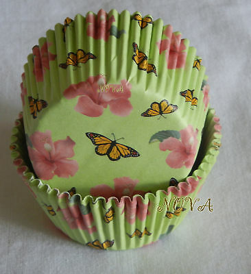 100 Butterfly & flower green Cupcake Cake liners BAKING PAPER CUP 50X33MM