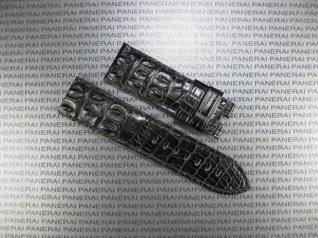 22mm Black ALLIGATOR HORNBACK STRAP Leather Watch Tang BAND V PAM