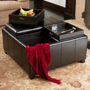 ... Elegant 4 Tray Top Black Leather Storage Ottoman