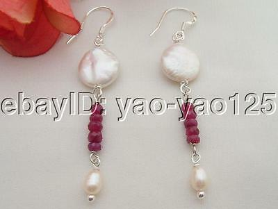 @@~~!  Natural Pearl&Ruby Earring-925 Sliver Hook