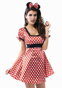 Womens-Flirty-miss-mini-mouse-fancy-dress-costume-party-outfit-minnie-039-s-8-10-S