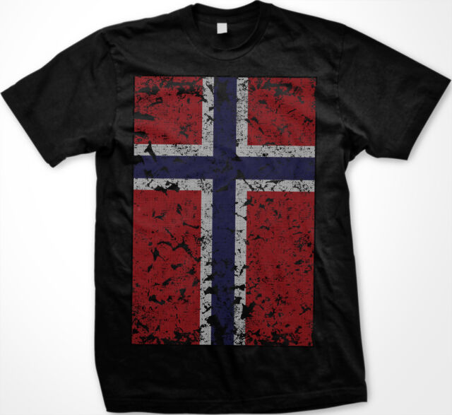 Norway Norwegian Norge Flag Oversized Distressed New Men's T-shirt