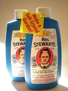 Mrs-Stewart-039-s-Bluing-8oz-2-Bottles-Stewarts-Blueing-Liquid-16oz-Total