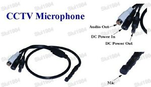 Mic Audio Mini Spy Hidden Microphone with DC output for CCTV Security Camera DVR
