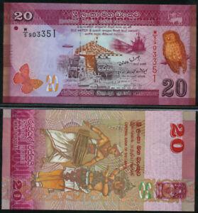 SRI-LANKA-20-RUPEES-2010-2011-P-123-LOT-2-PCS-Uncirculated-Banknotes