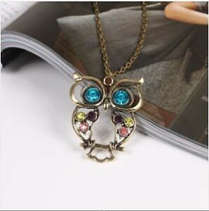 New-Retro-Bronze-Rhinestone-Owl-Pendant-Necklace-Fashion