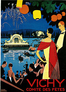 1926 Vichy comite' des fetes France Vintage French Travel Advertisement Poster