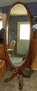 Quartersawn-Oak-Carved-Oval-Cheval-Mirror-Hall-Mirror-MR30