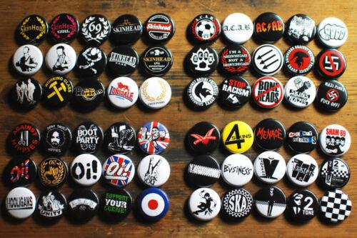 "60 x 1"" Skinhead Buttons oi pin ska acab punk 4skins cock sparrer sham 69 badge"