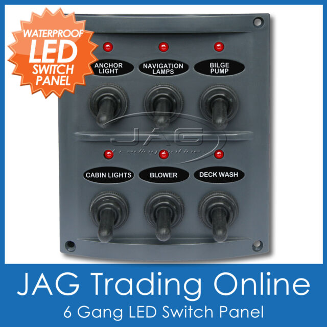 6 GANG LED WATERPROOF TOGGLE SWITCH PANEL 15A Blade Fuses - Marine/Boat/Caravan