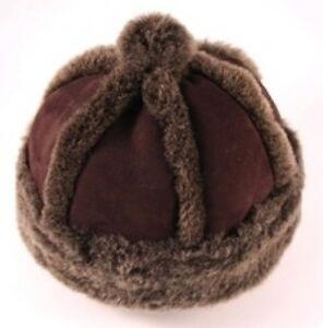 CHILDRENS-GENUINE-SHEEPSKIN-HAT-DARK-BROWN-2-SIZES
