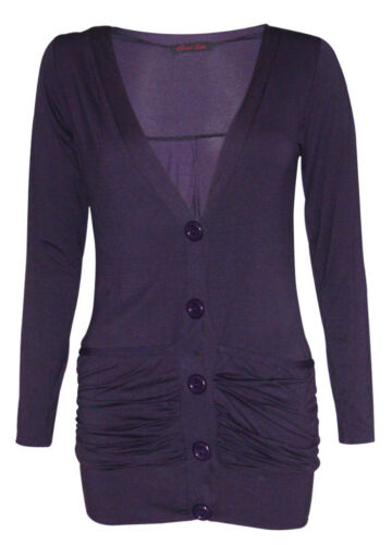 Womens Button Up Boy Friend Cardigan Tops - New Ladies Long Sleeve Cardigans Top