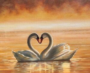 Original Painting Swan Heart Ebay