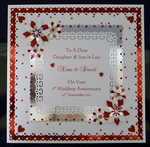 Image Is Loading 1st Wedding Anniversary Card Wife Husband Daughter Son