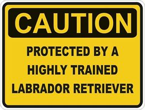 1x-CAUTION-PROTECTED-BY-LABRADOR-RERIEVER-WARNING-FUNNY-STICKER-DOG-PET-DECAL