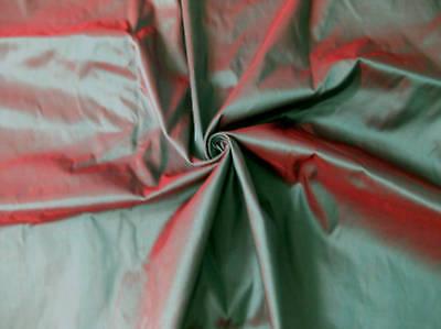 GREEN SHOT RED 100% PURE SILK 2-TONE FABRIC DRESS BLOUSE SKIRT DRAPE BTY