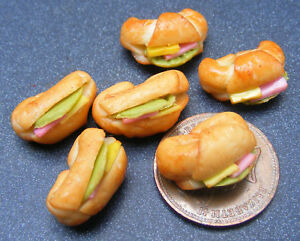 1-12-Scale-6-Filled-Croissants-Dolls-House-Miniature-Kitchen-Bread-Accessory