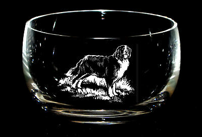 BERNESE MOUNTAIN DOG *DOG GIFT* 12.5cm Boxed CRYSTAL GLASS SWEET BOWL