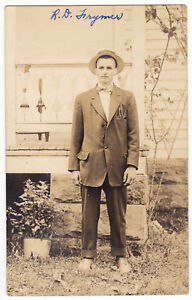 Vintage-HANDSOME-Young-MAN-Real-Photo-POSTCARD-RPPC