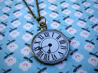♥FUNKY BRASS CLOCK FACE NECKLACE KITSCH CUTE VINTAGE WATCH ALICE WONDERLAND♥