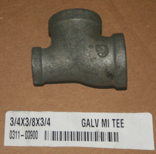 "Lot of 11 3//4"" x 3//8"" x 3//4"" Galvanized Malleable Iron Tee"