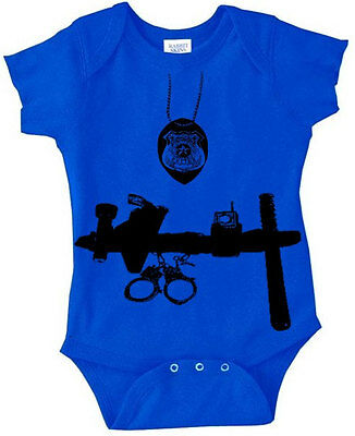 Baby Police Officer cop man 6m 12m 18m 24m 2T blue infant baby creeper clothing