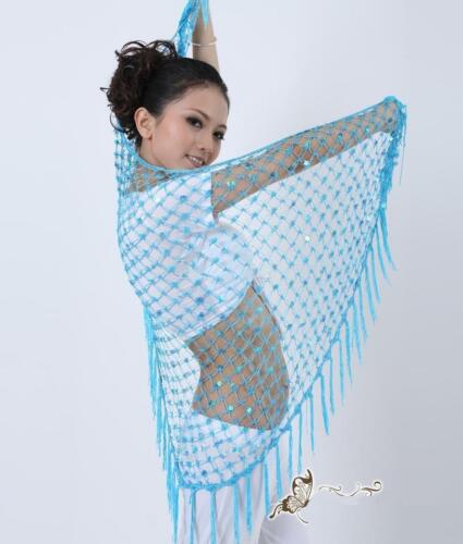 Triangle Crochet Sequins Fringe Belly Dance Scarf Shawl Veil 10 Colors