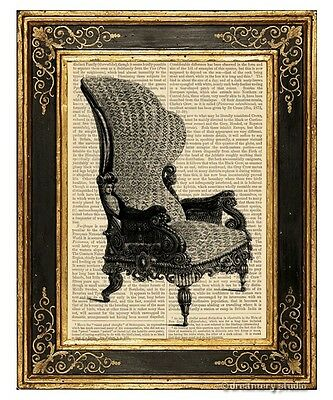 Armchair #2 Art Print on Antique Book Page Vintage Illustration Chair Furniture