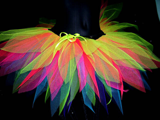 NEON MULTi  cOLOUR festival TUTU SKIRT gay PRIDE  PINK etc.RAVE RAINBOW  FAIRY