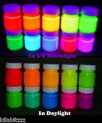 10 colours x 30ml pots Fluorescent UV Blacklight Paints