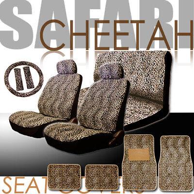 NEW 15PC UNIVERSAL ANIMAL CHEETAH CAR SEAT COVERS STEERING FLOOR MAT SET