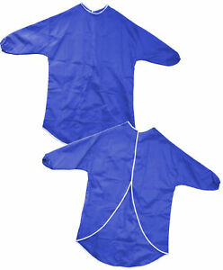 LONG-ELASTICATED-SLEEVE-CHILDRENS-ART-CRAFT-SAFE-PLAY-PAINTING-BLUE-CRAFT-APRON