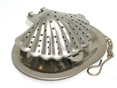 Stainless steel shell shaped tea infuser with tray