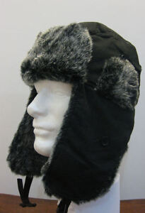 BLACK-WINTER-ALASKAN-STYLE-HAT-with-BLACK-FAUX-FUR-HUNTING-SKI-TRAPPER-H3