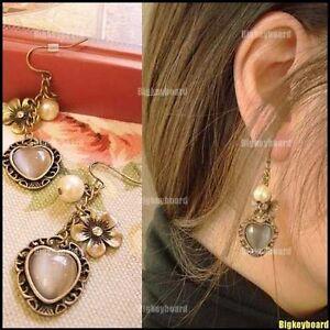 Fashion-Retro-Vintage-Flower-Love-Heart-Pearl-Dangle-Earring