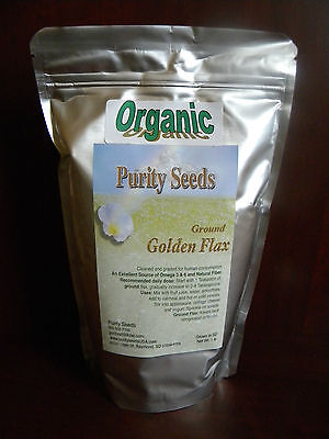 100% Organic Purity Seeds Ground Golden Flax Seed, 1 lb bag - linseed -flaxseed