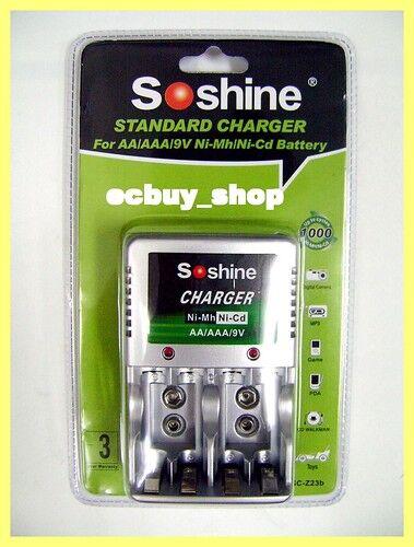 Soshine Standard Charger For AA/AAA/9V Ni-Mh/Ni-Cd new