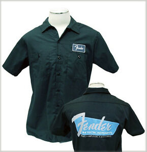 New fender guitar mechanic work shirt charcoal s small for Mechanic shirts with logo