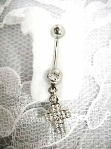 CHRISTIAN-CROSS-CHARM-w-CLEAR-CUBIC-ZIRCONIA-BELLY-RING