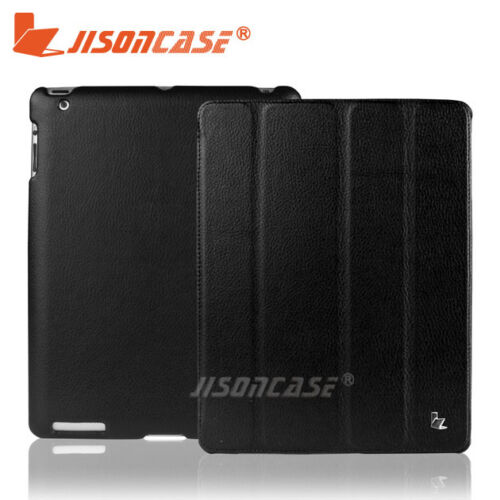 Jisoncase Ultra Slim PU Leather Case For Apple New iPad 3 3rd Generation Black !