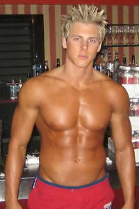 Shirtless-Beefcake-Muscle-Bodybuilder-Blonde-Male-Guy-PHOTO-4X6-Pinup-Pic-P210