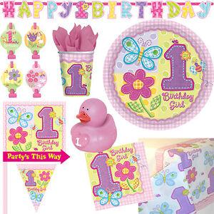 1 geburtstag m dchen rosa deko party set tischdeko feier for Kindergeburtstag 1 jahr deko