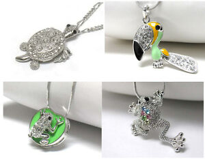 NEW-CRYSTAL-FROG-LILY-PAD-TOUCAN-TURTLE-PENDANT-NECKLACE