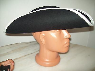 Deluxe Black Tricorn Hat with White Trim