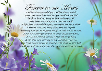 "A5 Memorial Grave Card - ""Forever in our Hearts"" Weatherproof  Free Stake & Post"