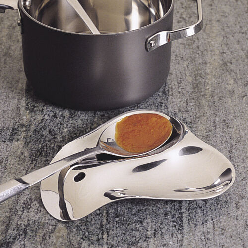"RSVP Stainless Steel Double Spoon Rest ""NEW"" Holds 2 SPOONS"